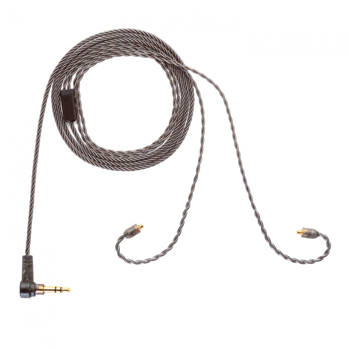 Smoky Litz Cable by Campfire Audio. Four Silver Plated Copper Conductors with Twist Weave in Smoky Gray PVC Jacket. New Custom Low Profile Beryllium Copper MMCX Connectors.